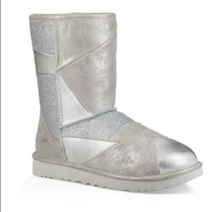 Ugg Classic Glitter Patchwork Boots Silver NEW